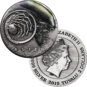 2oz 2019 Alien 40th Anniversary Antiqued Silver Coin