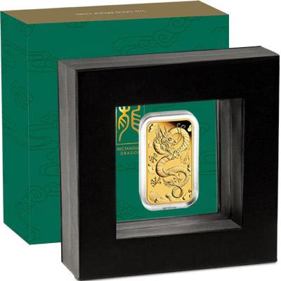 1oz 2019 Rectangular Dragon Gold Proof Coin